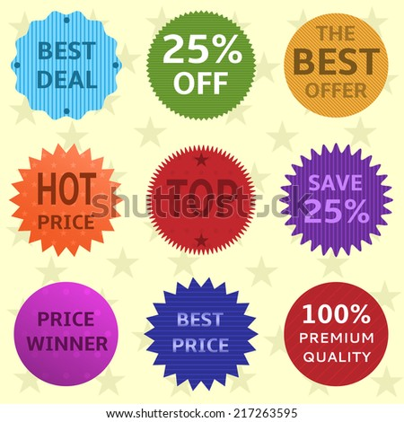 Set of colorful vector badges and labels - stock vector