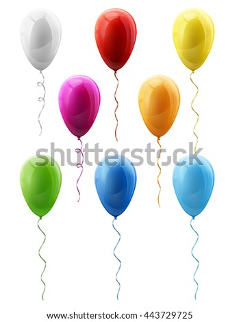 Set of colorful vector balloons, decoration for birthday greeting cards or anniversary. Contains transparency - stock vector