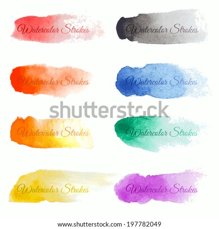Set of colorful vector brush strokes - stock vector