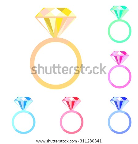 Set of colorful vector engagement ring icons. Wedding diamond ring. Jewelry. - stock vector