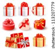 Set of colorful vector gift boxes with bows and ribbons. - stock photo