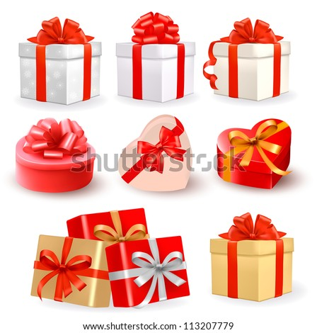 Set of colorful vector gift boxes with bows and ribbons. - stock vector