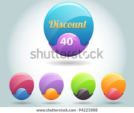Set of colorful vector Icon Ball - stock vector