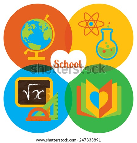 Set of colorful vector icons. Happy school: globe, flask, atom, chalkboard, notebook - stock vector
