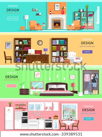 Set of colorful vector interior design house rooms with furniture icons: living room, bedroom, kitchen and home office. Flat style vector illustration. - stock vector