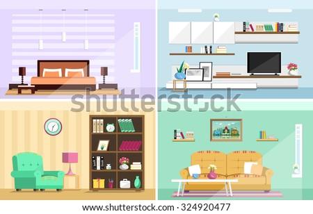 Set colorful vector interior design house stock vector for Apartment design vector