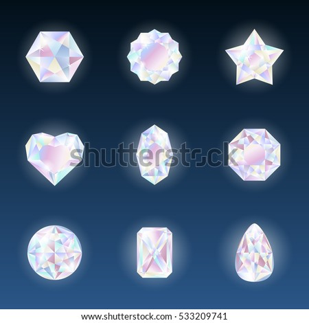 Set of colorful vector jewels gemstones and crystals with glowing on dark background.