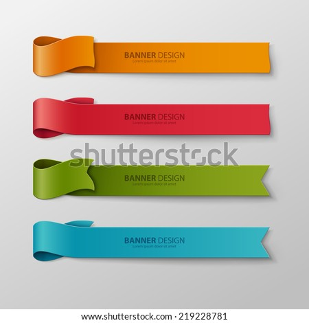 Set of colorful vector ribbons. - stock vector