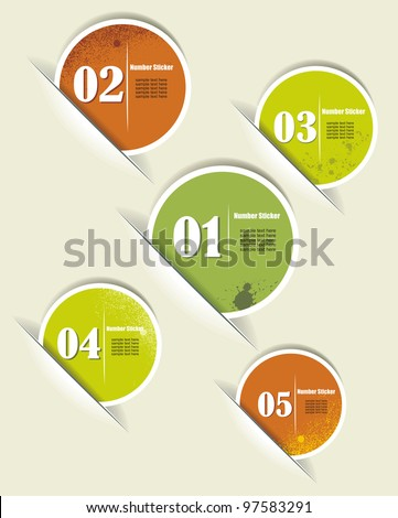 Set of Colorful Vector Sample stickers with numbers - stock vector