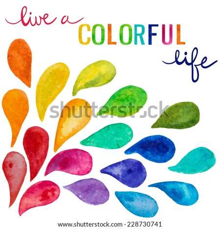 Set of colorful vector watercolor drops and text - stock vector