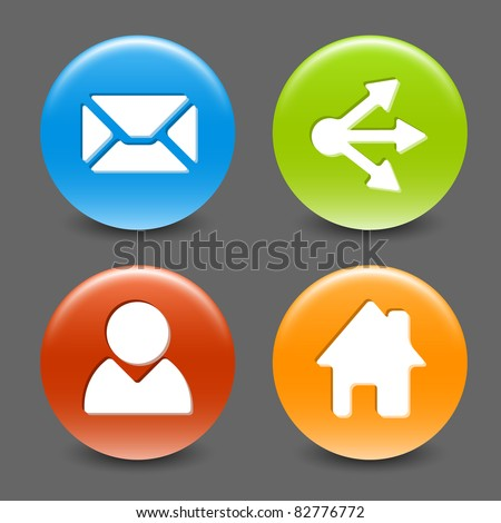Set of colorful vector web circle buttons (home, share, users, email) - stock vector