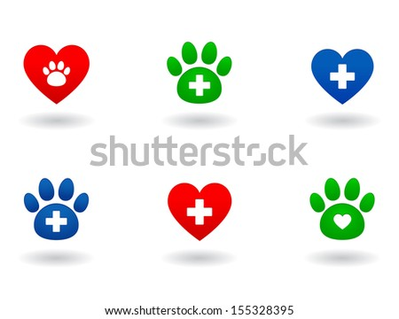 set of colorful veterinary icons on white background - stock vector