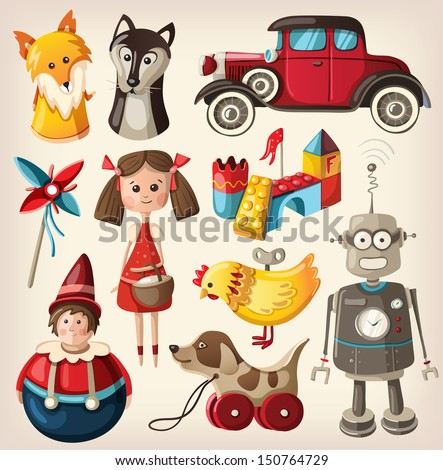 Set of colorful vintage christmas toys for children. - stock vector
