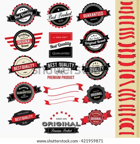 Set of colorful vintage labels and ribbons - stock vector
