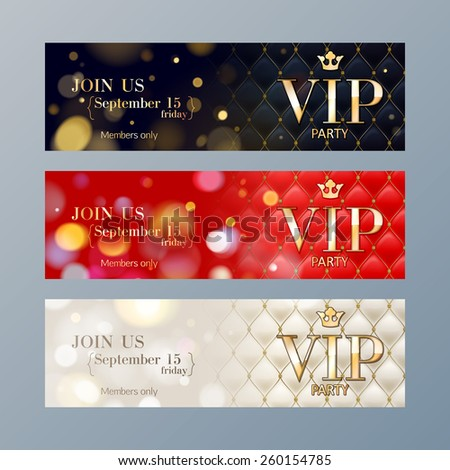 Set of colorful VIP party web site banners templates. Bokeh glow and quilted pattern backdrop. - stock vector