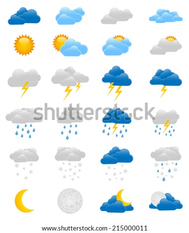 Set of colorful weather icons - sun, moon, rain, snow, storm and clouds - stock vector