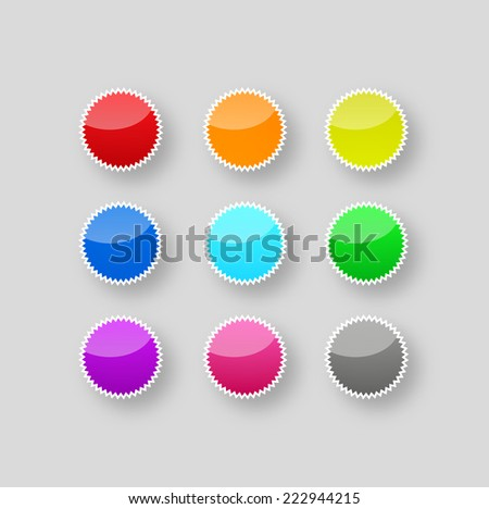 Set of colorful web blank badges