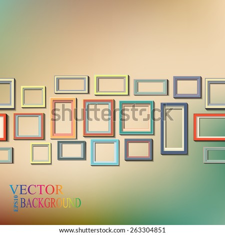 Set of colorful wooden frames - stock vector