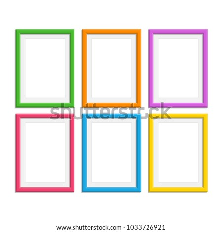 Set Colorful Wooden Frames Wooden Picture Stock Vector 1033726921 ...