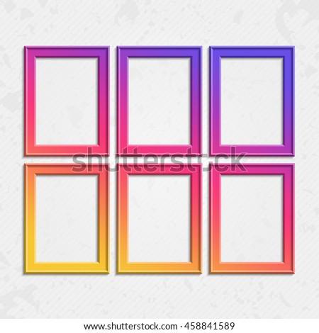 set of colorful wooden frames wooden square picture frames of colorful set for your web - Wooden Picture Frames