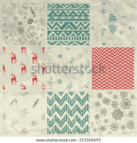 Set of 9 Colorful Xmas and New Year Doodle, Christmas Seamless Background Patterns on Crumpled Paper Texture. Hand Drawn Vector Illustration. Pattern Swatches - stock vector