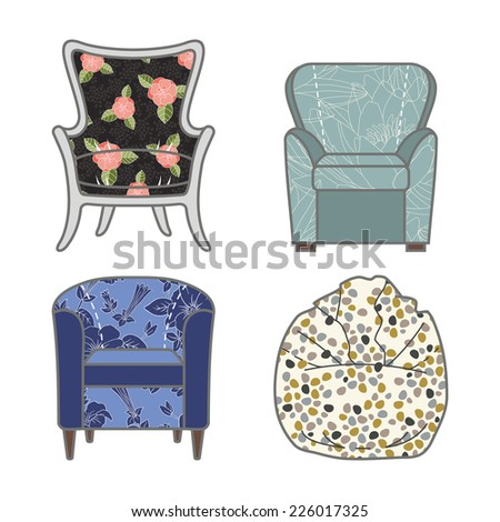 Set of colorfull and patterned armchairs. Vector illustration