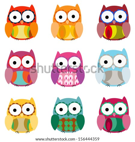 Set of 9 colorfully owls - stock vector