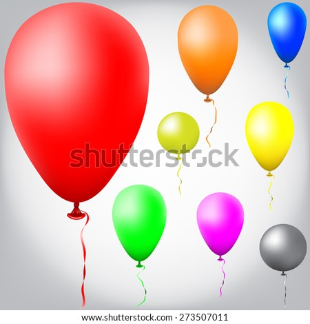 set of colors balloons with rope