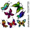 Set of colour butterflies of tattoos - stock