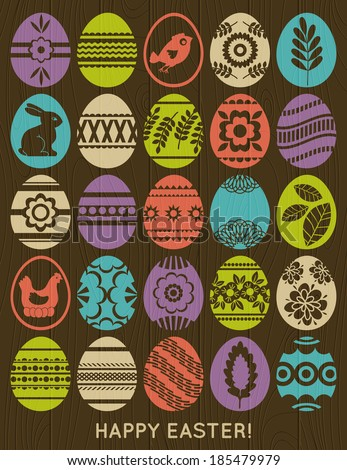 set of colour easter eggs over wooden background, vector - stock vector