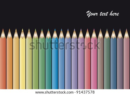 Set of colour pencils on black background - stock vector