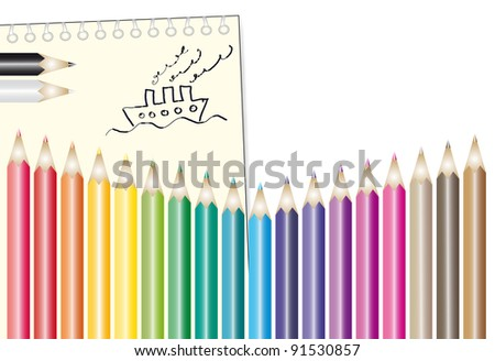 Set of colour pencils with notepad and kids drawing - stock vector