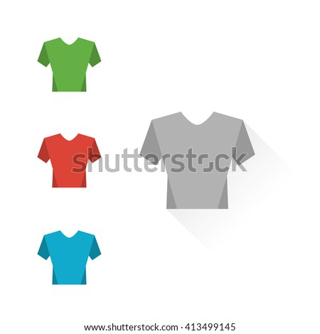 Set of colour t-shirts - stock vector