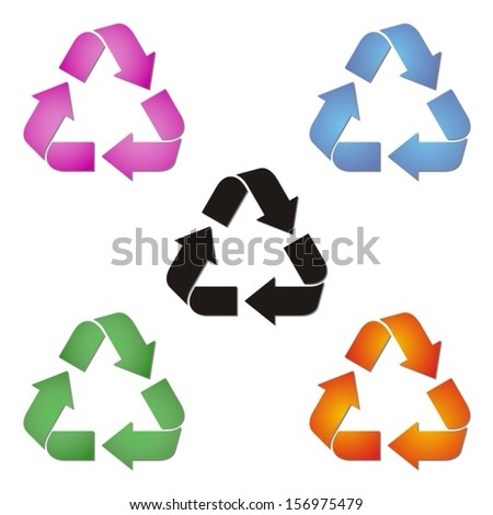 set of coloured recycle symbols on white background - stock vector