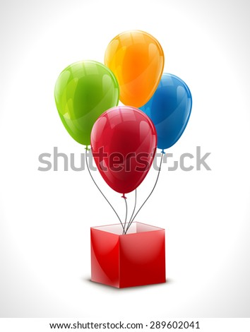 Set of colourful birthday or party balloons with red box - stock vector