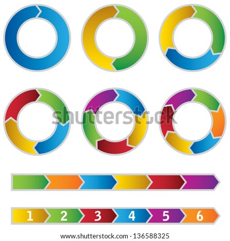 Set of colourful Circle Diagrams and arrows. This image is a vector illustration.