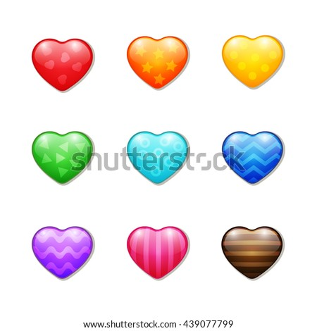 Set of colourful realistic hearts with simple ornaments