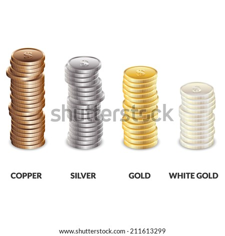 Set of columns of coins of different metals. Bars of copper, silver and gold dollars. Vector illustration. - stock vector