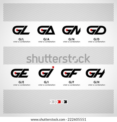 Set of Combinations of Letters G and L, A, N, D, E, I, F, H. Abstract Vector Logo Design Template. Creative Concept Icon - stock vector