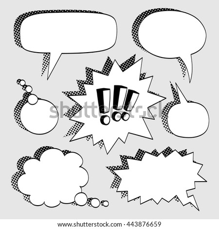 Set of comic bubbles. Exclamation marks. Halftone shadows. Vector illustration.