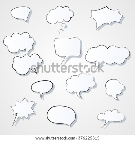 Set of comic 3d speech bubbles icon. Thought bubble Vector image. Eps 10 - stock vector