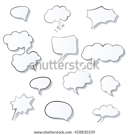 Set of comic 3d speech bubbles icon. Thought bubble Vector image. Eps10 - stock vector