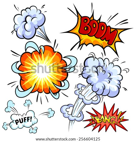 Set of comic explosion. Vector clip-art illustration on a white background.