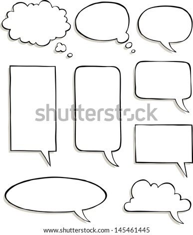 Set of comic speech bubbles vector illustration - stock vector