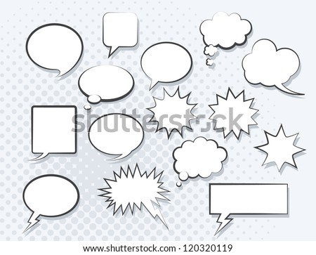 Set of comic speech bubbles. Vector image. - stock vector