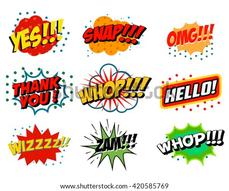 Set of comic style phrases isolated on white background. Pop art style phrases set. Wow! Oops! Whop!  Design element for poster, flyer. Vector design element. - stock vector