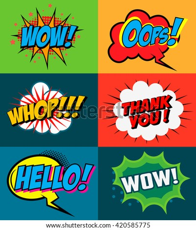 Set of comic style phrases on colorful background. Pop art style phrases set. Wow! Oops! Whop!  Design element for poster, flyer. Vector design element. - stock vector