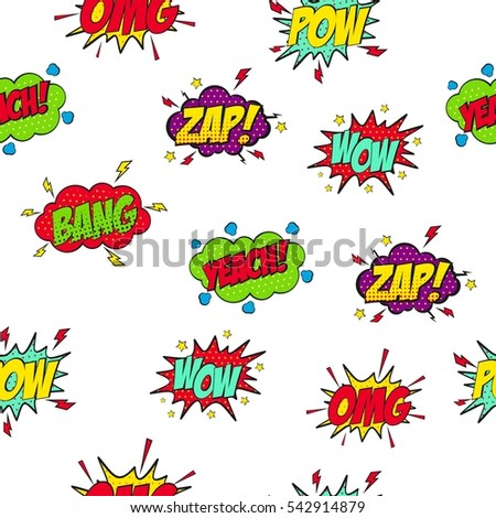Set of Comic Text, Pop Art style.Cartoon sound effect.