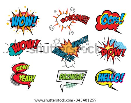 Set of Comic Text, Pop Art style. Comic speech bubbles for different emotions and sound effects.  Vector illustration. - stock vector