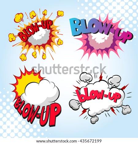 Set of comics boom. Blow up. Hand drawn vector illustration - stock vector